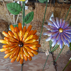 Colorful Metal Flower Garden Stakes